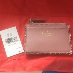 NWT Kate Spade pink with glitter edges cardholder